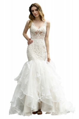 Luxury Mermaid Ivory V-neck Spring Lace Wedding Dress with Ruffles Train_5