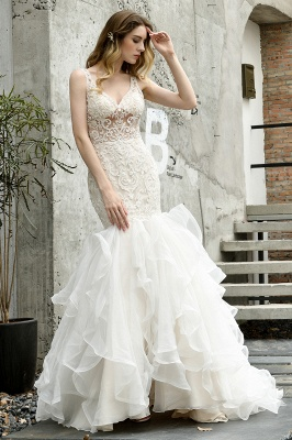 Luxury Mermaid Ivory V-neck Spring Lace Wedding Dress with Ruffles Train_1