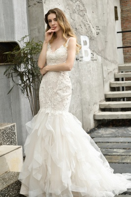 Sexy Lace Mermaid Lace Sleeveless Ivory Wedding Dress with Ruffle Train_13