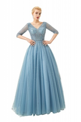 Glitter Half Sleeve Sequins Beading  Evening gowns Aline Prom Gown_1