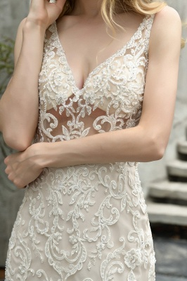 Luxury Mermaid Ivory V-neck Spring Lace Wedding Dress with Ruffles Train_8