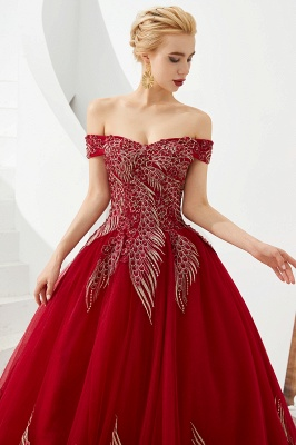Elegant Off Shoulder Gold Appliques Evening Gown Tulle Gowns for wedding party_6