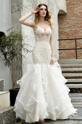 Luxury Mermaid Ivory V-neck Spring Lace Wedding Dress with Ruffles Train_13
