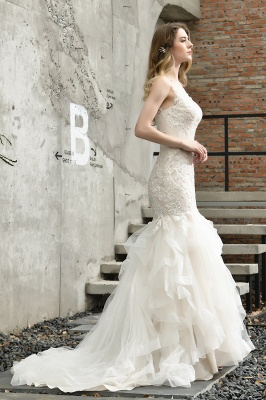 Sexy Lace Mermaid Lace Sleeveless Ivory Wedding Dress with Ruffle Train_10