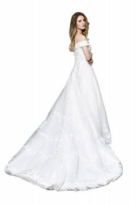 Elegant White Lace Off Shoulder Princess Wedding Dress with Beaded Lace Appliques_3