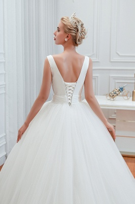 Sexy V-Neck White Princess Spring Wedding Dress Sleeveless Bridal Gowns with Belt_9