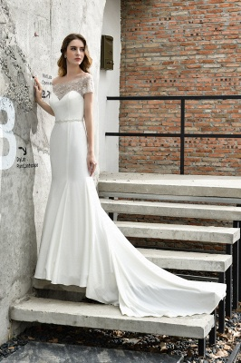 Floral Beaded Cap Sleeve Mermaid Lace Ivory Wedding Dress with Chapel Train_7