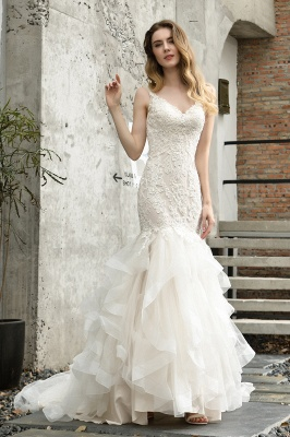 Sexy Lace Mermaid Lace Sleeveless Ivory Wedding Dress with Ruffle Train_1