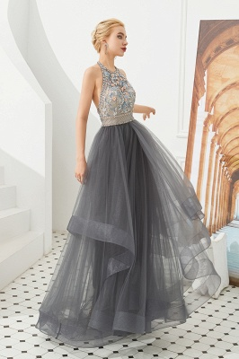 Halter Floral Evening Dress Sparkly Beads Tulle Prom Dress Mother of bride dress_6