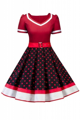 Women's Vintage Crew Polka Dot Wedding Party Cocktail Dress_3