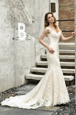 Stylish Mermaid Wedding Dress Slim Lace Appliques Sleeveless Party Dress for wedding_7