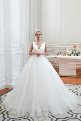 Sexy V-Neck White Princess Spring Wedding Dress Sleeveless Bridal Gowns with Belt_13