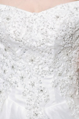 Elegant White Lace Off Shoulder Princess Wedding Dress with Beaded Lace Appliques_11