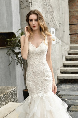 Sexy Lace Mermaid Lace Sleeveless Ivory Wedding Dress with Ruffle Train_6