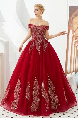Elegant Off Shoulder Gold Appliques Evening Gown Tulle Gowns for wedding party_7