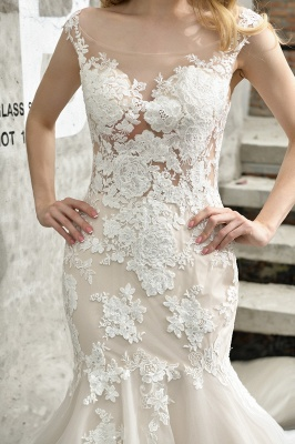 Stunning Sleeveless Fit-and-flare Lace Open Back Summer Beach Wedding Dress_12