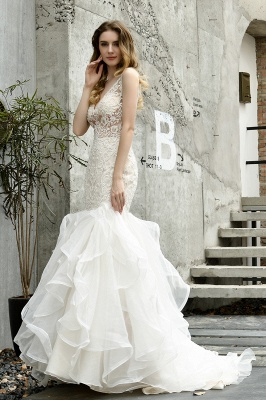 Luxury Mermaid Ivory V-neck Spring Lace Wedding Dress with Ruffles Train_7