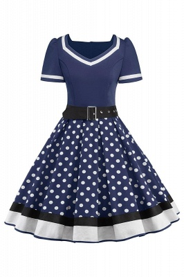Women's Vintage Crew Polka Dot Wedding Party Cocktail Dress_7