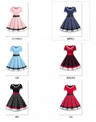 Women's Vintage Crew Polka Dot Wedding Party Cocktail Dress_5