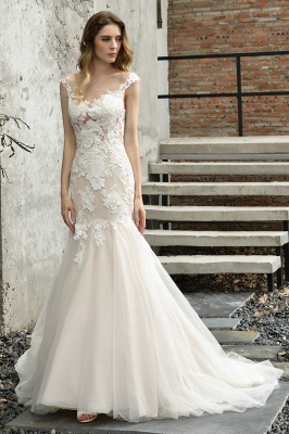 Stunning Sleeveless Fit-and-flare Lace Open Back Summer Beach Wedding Dress
