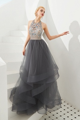 Halter Floral Evening Dress Sparkly Beads Tulle Prom Dress Mother of bride dress_4