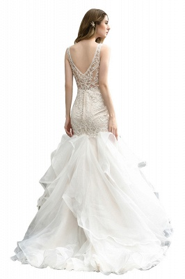 Luxury Mermaid Ivory V-neck Spring Lace Wedding Dress with Ruffles Train_4