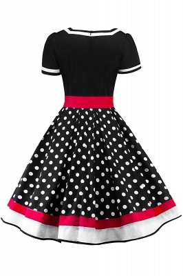 Women's Vintage Crew Polka Dot Wedding Party Cocktail Dress_2