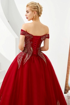 Elegant Off Shoulder Gold Appliques Evening Gown Tulle Gowns for wedding party_8
