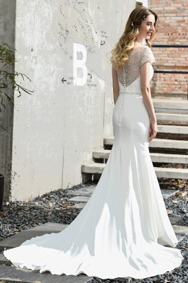 Floral Beaded Cap Sleeve Mermaid Lace Ivory Wedding Dress with Chapel Train_11