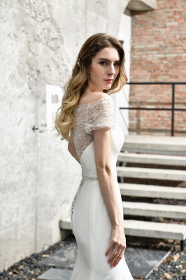 Floral Beaded Cap Sleeve Mermaid Lace Ivory Wedding Dress with Chapel Train_12