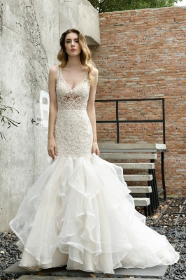 Luxury Mermaid Ivory V-neck Spring Lace Wedding Dress with Ruffles Train_9