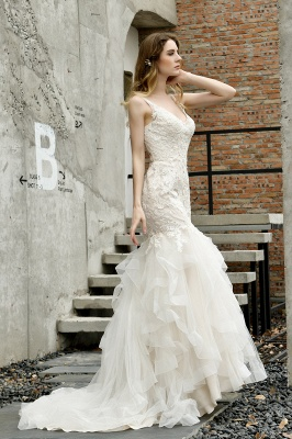 Sexy Lace Mermaid Lace Sleeveless Ivory Wedding Dress with Ruffle Train_9