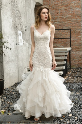 Sexy Lace Mermaid Lace Sleeveless Ivory Wedding Dress with Ruffle Train_7