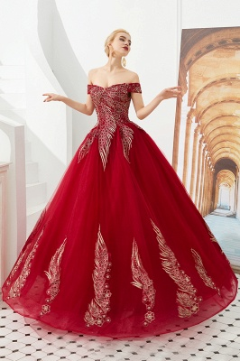 Elegant Off Shoulder Gold Appliques Evening Gown Tulle Gowns for wedding party_4
