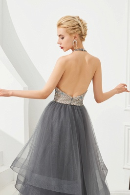 Halter Floral Evening Dress Sparkly Beads Tulle Prom Dress Mother of bride dress_9