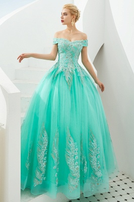 Elegant Off Shoulder Gold Appliques Evening Gown Tulle Gowns for wedding party_11