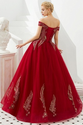 Elegant Off Shoulder Gold Appliques Evening Gown Tulle Gowns for wedding party_5