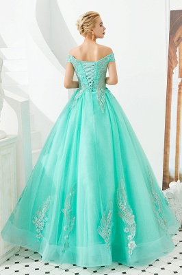 Elegant Off Shoulder Gold Appliques Evening Gown Tulle Gowns for wedding party_20
