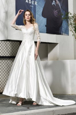Charming Lace Appliques A-line Wedding Dress Half Sleeve Satin Dress for Bride