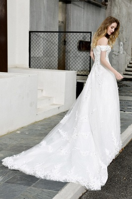 Elegant White Lace Off Shoulder Princess Wedding Dress with Beaded Lace Appliques_12