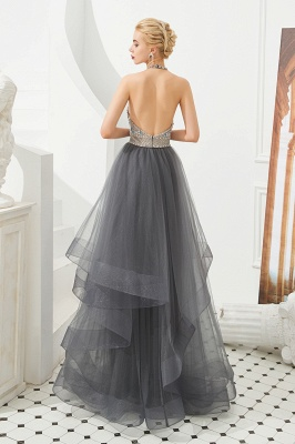 Halter Floral Evening Dress Sparkly Beads Tulle Prom Dress Mother of bride dress_5
