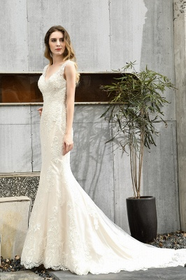 Stylish Mermaid Wedding Dress Slim Lace Appliques Sleeveless Party Dress for wedding_8
