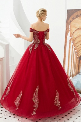 Elegant Off Shoulder Gold Appliques Evening Gown Tulle Gowns for wedding party_9