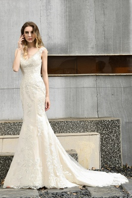 Stylish Mermaid Wedding Dress Slim Lace Appliques Sleeveless Party Dress for wedding_5
