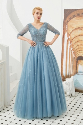 Glitter Half Sleeve Sequins Beading  Evening gowns Aline Prom Gown_6