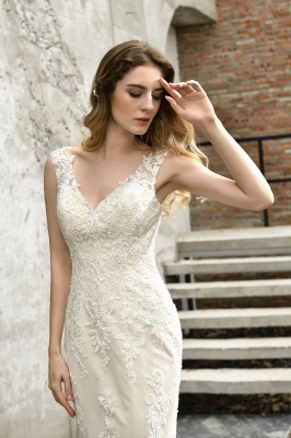 Stylish Mermaid Wedding Dress Slim Lace Appliques Sleeveless Party Dress for wedding_4