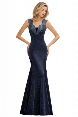 Mermaid V-Neck Floor Length Lace Long Cocktail Dress_5