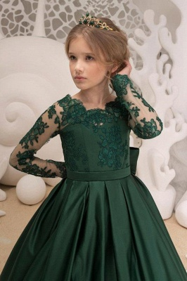 Satin Dark Green Jewel Lace Backless Flower Girl Dresses With Bow| Long Sleeves Floor Length Girl Party Dresses_3