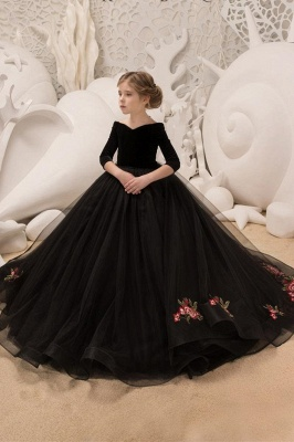 Half sleeve flower girl dresses Black Floral Dress for Kids