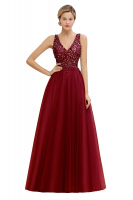 Spark Beading Sequins Bodice Evening Maxi Dress Tulle  Gown_2